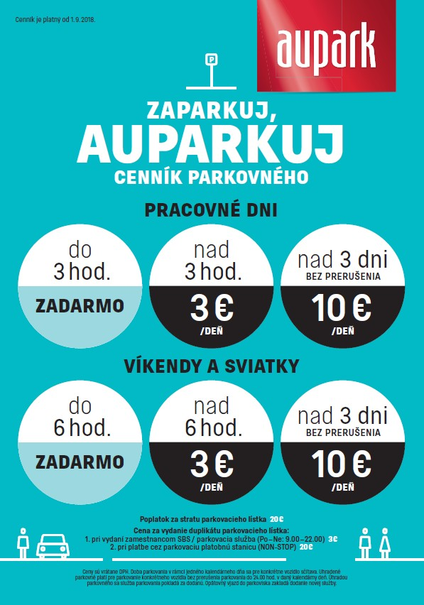 Price list for parking
